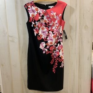 NWT New York & Co Pink Black Floral Sheath Dress 4